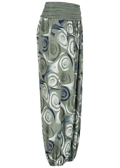 Hailys Damen weite Viskose Harem Stoffhose Circle Print khaki grün