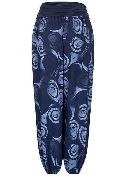 Hailys Damen weite Viskose Harem Stoffhose Circle Print navy blau