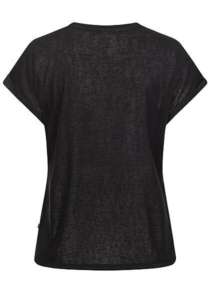 Tom Tailor Damen T-Shirt Ärmelumschlag Loose Fit schwarz