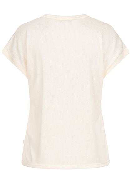 Tom Tailor Damen T-Shirt Ärmelumschlag Loose Fit soft creme beige