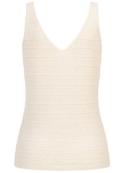 Tom Tailor Damen Ribbed V-Neck Strick Tank Top soft creme beige