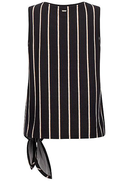 Tom Tailor Damen Tank Top Bindedetail seitlich Streifen Muster schwarz beige