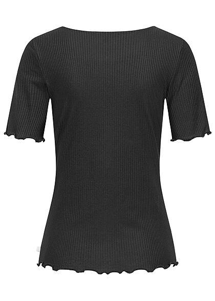 Tom Tailor Damen Ribbed Frill T-Shirt Deko Knopfleiste schwarz