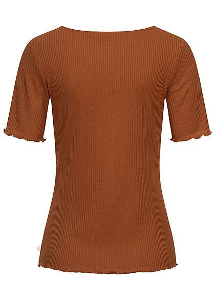 Tom Tailor Damen Ribbed Frill T-Shirt Deko Knopfleiste amber braun