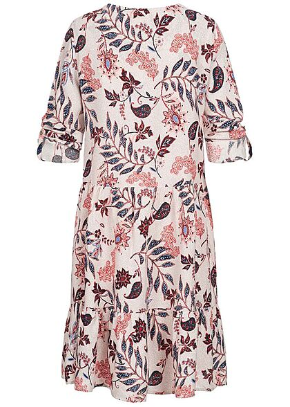Tom Tailor Damen V-Neck Langarm Blusenkleid Volants Paisley Blumen Print weiss