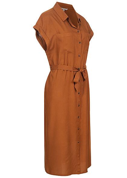 Tom Tailor Damen Midi Blusenkleid inkl. Bindegürtel Knopfleiste amber braun