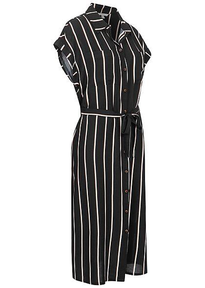 Tom Tailor Damen Midi Blusenkleid inkl. Bindegürtel Knopfleiste Streifen schwarz