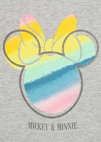 Hailys Damen Disney T-Shirt Mickey & Minnie Print hell grau melange mc