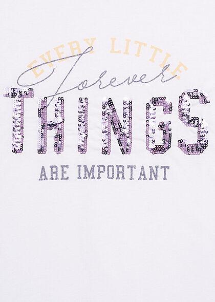 Hailys Damen T-Shirt Every little Things Pailletten weiss