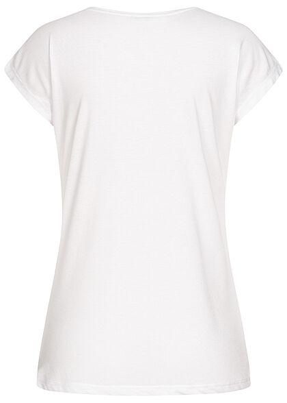 Hailys Damen T-Shirt Herz Print mit Pailletten & Glitzer weiss