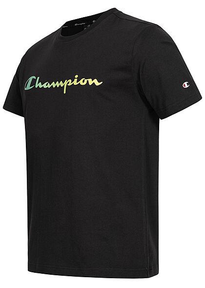 Champion Herren T-Shirt Logo Print Comfort Fit schwarz grün gelb