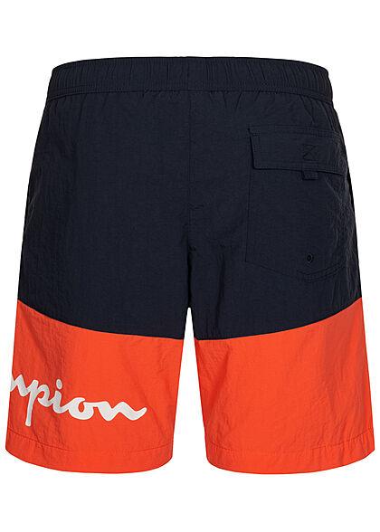 Champion Herren 2-Tone Shorts Badehose 3-Pockets Tunnelzug Logo Print navy blau orange