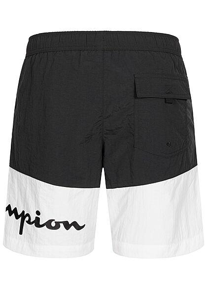 Champion Herren 2-Tone Shorts Badehose 3-Pockets Tunnelzug Logo Print schwarz weiss