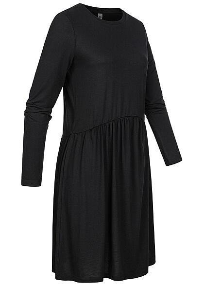 JDY by ONLY Damen Langarm Kleid Rüschen schwarz