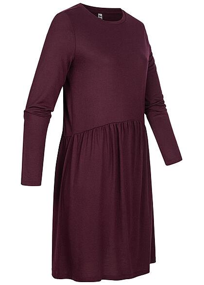 JDY by ONLY Damen Langarm Kleid Rüschen winetasting lila
