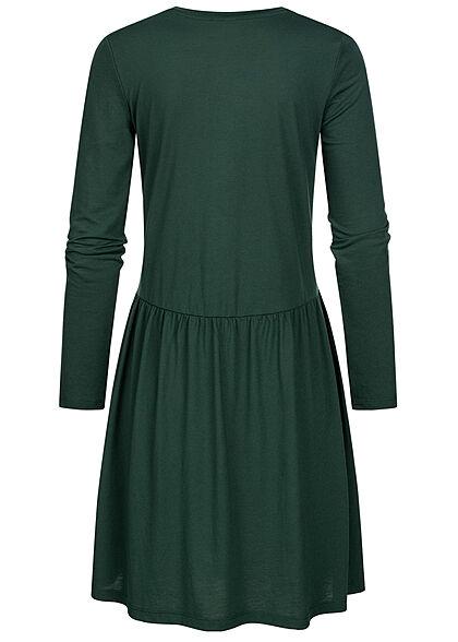 JDY by ONLY Damen Langarm Kleid Rüschen gables grün