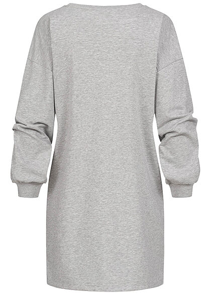 JDY by ONLY Damen kurzes Sweat Kleid mit Print hellgrau melange