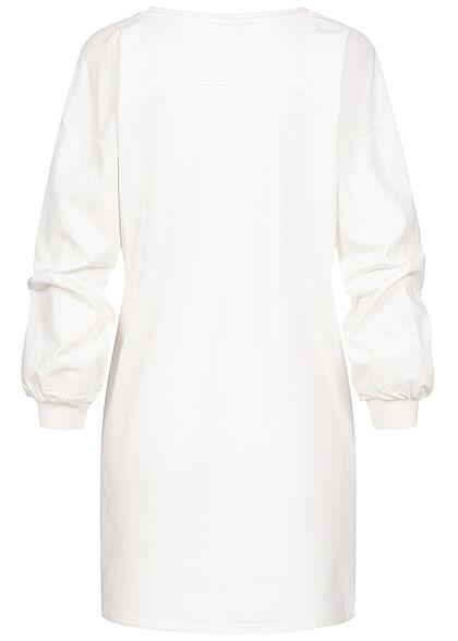 JDY by ONLY Damen kurzes Sweat Kleid mit Print cloud dancer weiss