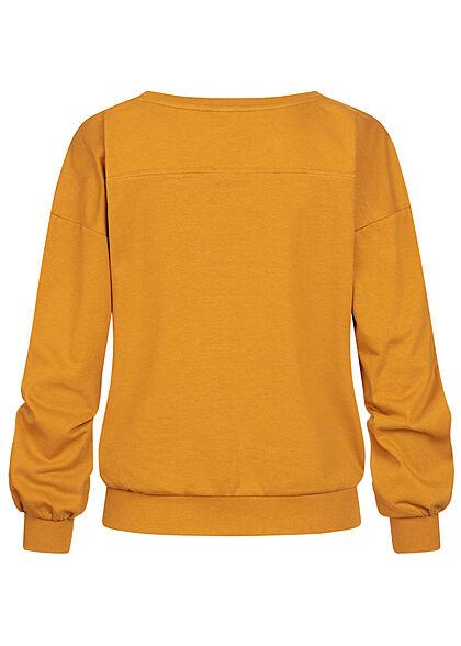 JDY by ONLY Damen College Sweat Pullover mit Print breite Bündchen buckthorn gelb