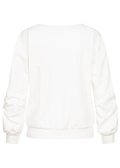JDY by ONLY Damen College Sweat Pullover mit Print breite Bündchen cloud d. weiss
