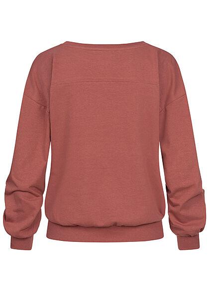 JDY by ONLY Damen College Sweat Pullover mit Print breite Bündchen apple rot