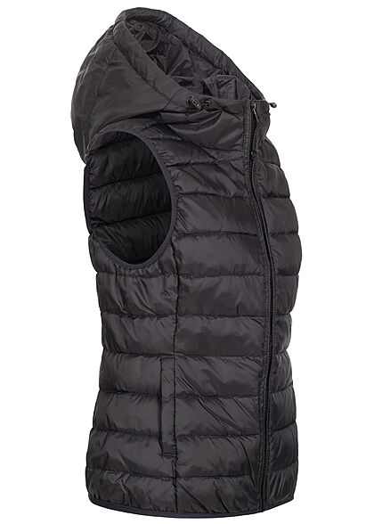 ONLY Damen NOOS Nylon Steppweste Kapuze 2-Pockets schwarz