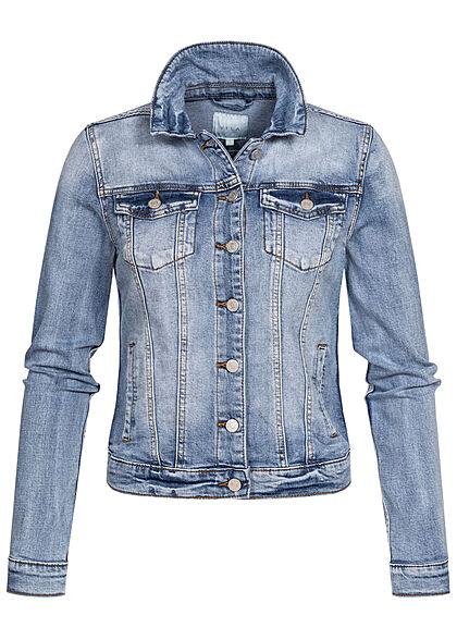 VILA Damen NOOS kurze Jeans Jacke 2 Brusttaschen medium blau vinrtage denim