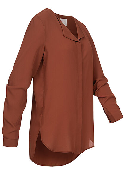 VILA Damen NOOS leichte V-Neck Langarm Bluse Vokuhila burnt henna braun