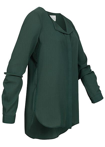 VILA Damen NOOS leichte V-Neck Langarm Bluse Vokuhila darkest spruce grün