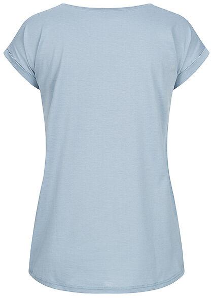 VILA Damen NOOS Basic T-Shirt mit Ärmelumschlag Vokuhila ashley hellblau
