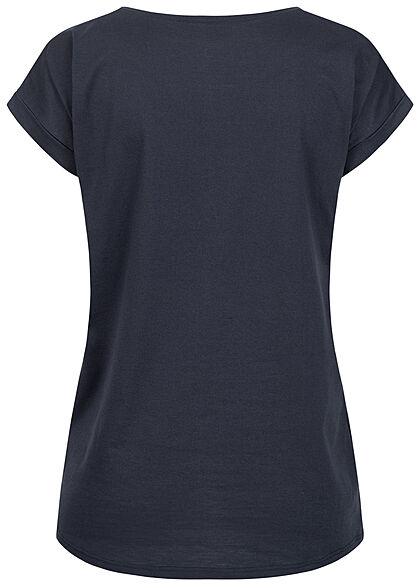 VILA Damen NOOS Basic T-Shirt mit Ärmelumschlag Vokuhila total eclipse dunkel blau
