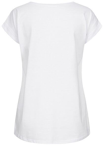 VILA Damen NOOS Basic T-Shirt mit Ärmelumschlag Vokuhila optical snow weiss