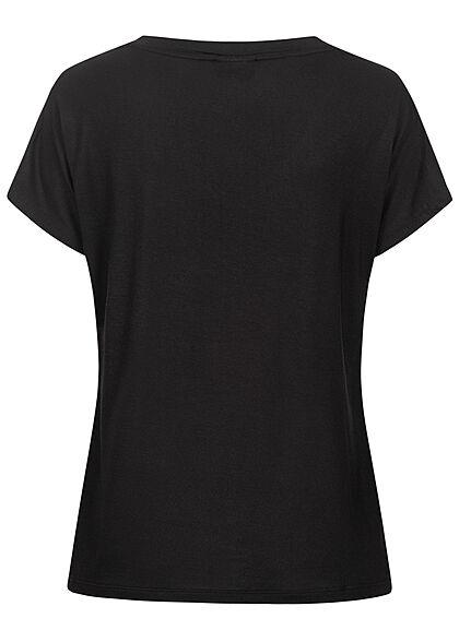 VILA Damen NOOS V-Neck Viskose T-Shirt schwarz
