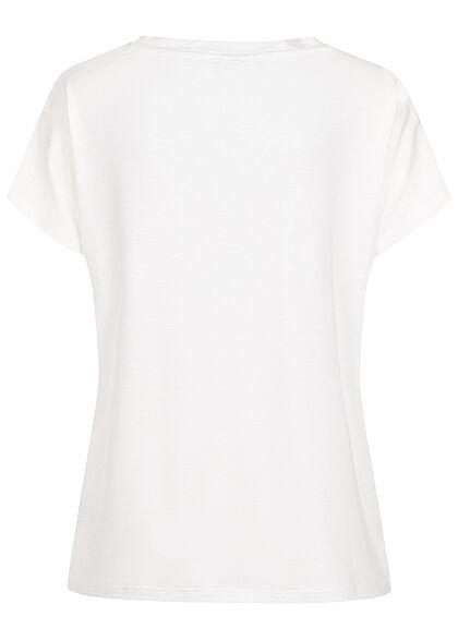 VILA Damen NOOS V-Neck Viskose T-Shirt optical weiss