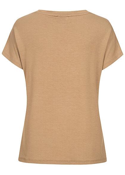 VILA Damen NOOS V-Neck Viskose T-Shirt tigers eye braun
