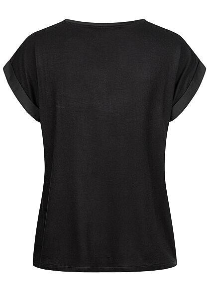 VILA Damen NOOS Satin Blusen Shirt mit Flügelärmeln Materialmix schwarz