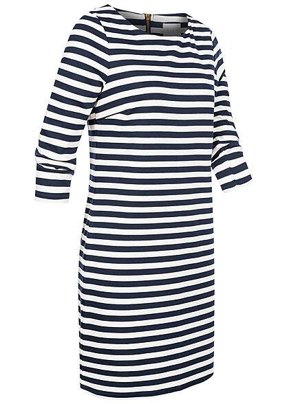 VILA Damen NOOS 3/4 Arm Kleid Streifen Muster Zipper hinten total eclip. blau weiss