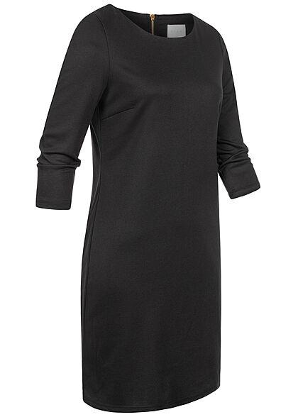 VILA Damen NOOS 3/4 Arm Kleid Zipper hinten unicolor schwarz