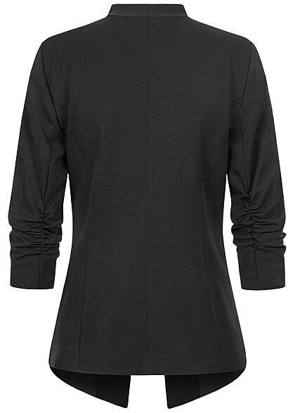 VILA Damen NOOS 3/4 Arm Blazer mit Knitter-Effekt offener Schnitt schwarz
