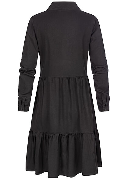 VILA Damen NOOS Langarm Viskose Blusenhemd Kleid Knopfleiste schwarz