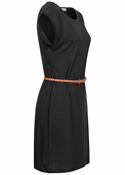 Seventyseven Lifestyle Damen Mini T-Shirt Kleid inkl. Bindegürtel schwarz