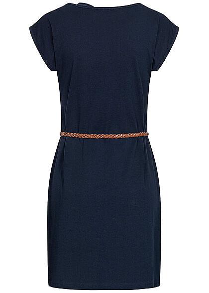 Seventyseven Lifestyle Damen Mini T-Shirt Kleid inkl. Bindegürtel navy blau