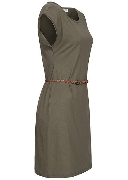 Seventyseven Lifestyle Damen Mini T-Shirt Kleid inkl. Bindegürtel dunkel grün
