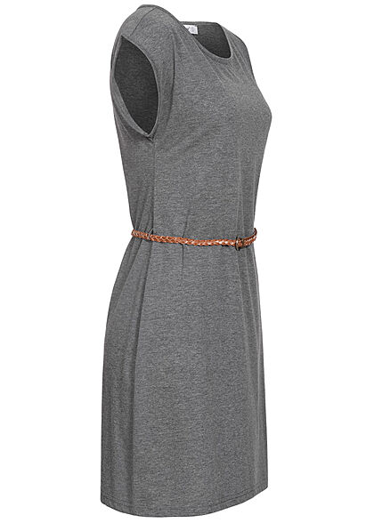 Seventyseven Lifestyle Damen Mini T-Shirt Kleid inkl. Bindegürtel dunkel grau mel.