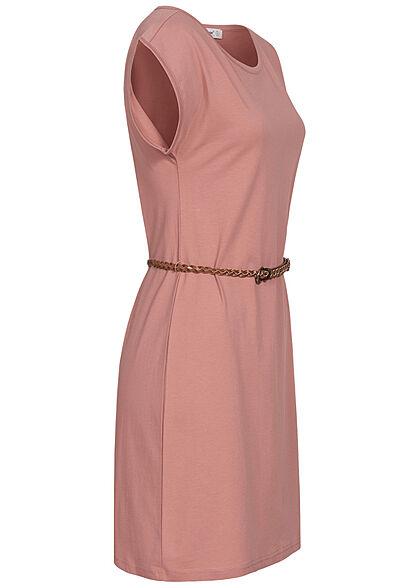 Seventyseven Lifestyle Damen Mini T-Shirt Kleid inkl. Bindegürtel old rose