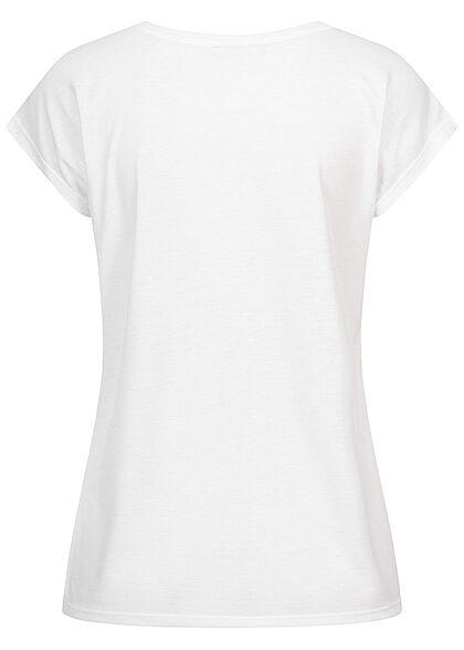 Seventyseven Lifestyle Damen Casual T-Shirt Pailletten Grateful Print weiss kupfer