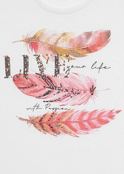 Seventyseven Lifestyle Damen Casual T-Shirt Live Pailletten Federn Print weiss