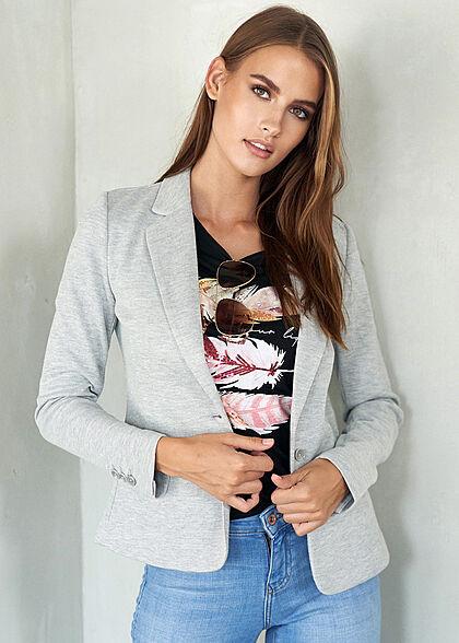 Seventyseven Lifestyle Damen Casual T-Shirt Live Pailletten Federn Print schwarz