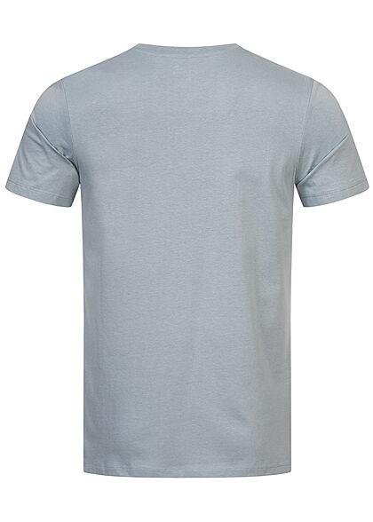 Jack and Jones Herren T-Shirt Logo Frontprint Slim Fit dusty hellblau