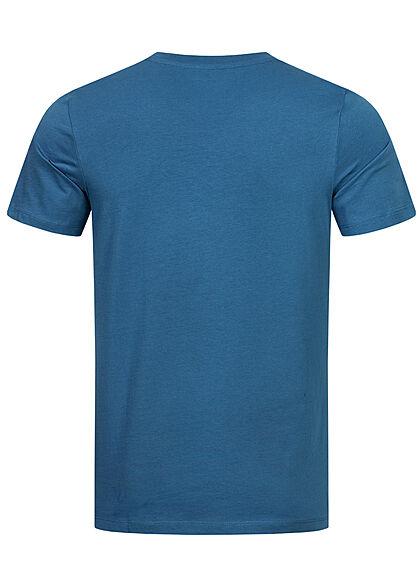 Jack and Jones Herren T-Shirt Logo Frontprint Slim Fit deep water blau